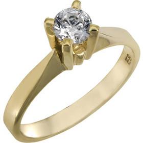 Χειροποίητο χρυσό μονόπετρο Κ14 με λευκή πέτρα 025855 025855 Χρυσός 14  Καράτια 85b4cd45e67