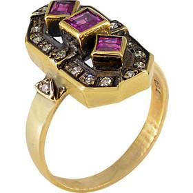 Δαχτυλίδι χρυσό 18 καράτια αντικέ με μπριγιάν 0.17ct και ρουμπίνια 0.70ct 4b5c1bfbd76