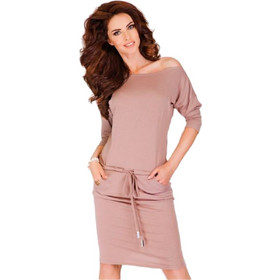 c0b2e4de535f Σπορ φόρεμα με μανίκια 3 4 Numoco - Μπέζ