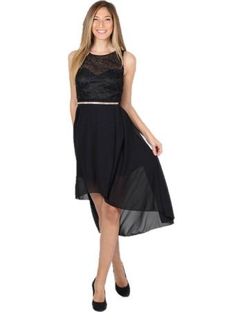 Mini Φόρεμα με Ασύμμετρη Φούστα Στρας στη Μέση Μαύρο - Μαύρο 338a300f77a