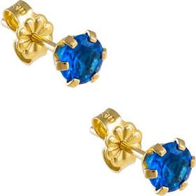 Σκουλαρίκια μονόπετρα από χρυσό 14 καρατίων με μπλε ζιρκόν. BL25904B dc773d5a582