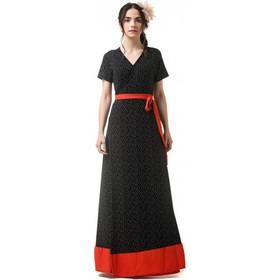 9b30254ab696 Δετό Κρουαζέ Φόρεμα Μαύρο Πουά με Κόκκινο