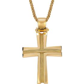 Σταυρός ανδρικός χειροποίητος με πλεκτά σύρματα σε χρυσό Κ14 ST253G 7cb87e2ac31