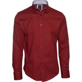 b290c499ab18 71381-20 Ανδρικό πουκάμισο εμπριμέ με μακρύ μανίκι - κόκκινο
