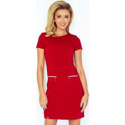 fee0b08af0fb 70071 NU Κοντομάνικο μίνι φόρεμα με φερμουάρ - κόκκινο