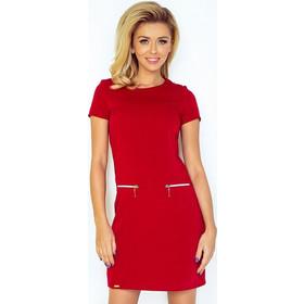 23bda2b17823 70071 NU Κοντομάνικο μίνι φόρεμα με φερμουάρ - κόκκινο. Numoco