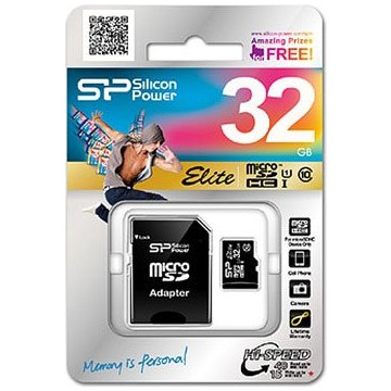 Silicon Power 32GB microSDHC UHS-1 Elite Class 10 + Adapter