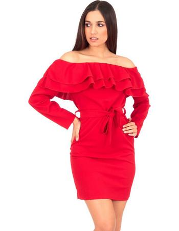 b6e8b94c89f5 Κόκκινο Off Shoulder Mini Φόρεμα με Βολάν και Ζωνάκι Κόκκινο Silia D