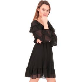 2b1aa27334e1 Μαύρο Mini Φόρεμα με Τούλι και Βολάν Μαύρο Silia D