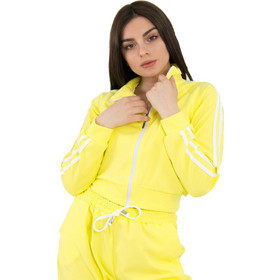 7bdfb2b5e7b0 Γυναικείο κίτρινο κοντό ζακετάκι λευκή ρίγα 100966D