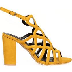 daa87f24f96 Πέδιλα κίτρινα σουέτ με σχέδιο και λουράκι 342166yel
