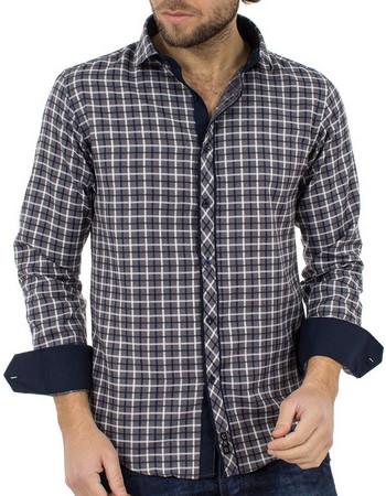 708d1c1f7610 Ανδρικό Καρό Μακρυμάνικο Πουκάμισο Slim Fit CND Shirts 1800-4 Γκρι