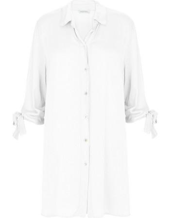 64331b495643 Μακρύ βαμβακερό πουκάμισο με δέσιμο στα μανίκια WL7813.3681+3