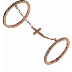 βεράκι δαχτυλίδι 2 γραμμαρίων διπλό που ενώνεται με αλυσίδα από ρόζ-χρυσό  Κ9 με πέτρες 5bef65cfbac