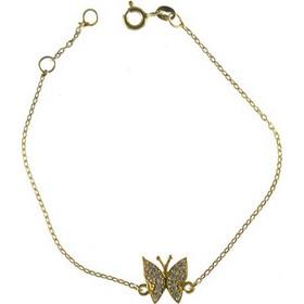 Βραχιόλι Πεταλούδα Από Επιχρυσωμένο Ασήμι Με Πέτρες Ζιργκόν 1d74474061a