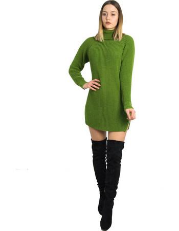 Γυναικείο πράσινο πλεκτό φόρεμα Oversize με ζιβάγκο 233023F 98cd28b3425