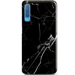 c20f3e9f13 Samsung Galaxy A7 (2018) A750F Glass Back Cover Hard Case Marble Design  Black (