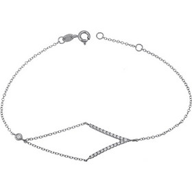 Γυναικείο Βραχιόλι Λευκόχρυσο Κ14 με πετρούλες 027834 027834 Χρυσός 14  Καράτια 8faa592a3f9