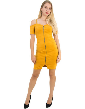 aefcff49133f Γυναικείο ώχρα έξωμο κολλητό φόρεμα χρυσό φερμουάρ 2894