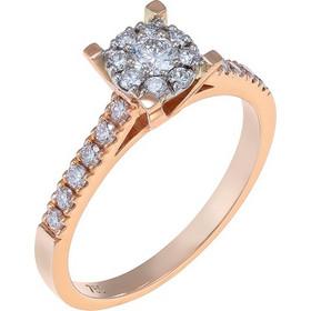 Δαχτυλίδι illusion από ροζ χρυσό 18 καρατίων με ένα κεντρικό διαμάντι  0.12ct cd9124543d9