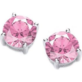 Jt Ασημένια μονόπετρα σκουλαρίκια ροζ ζιργκόν 5mm a81aebdb006
