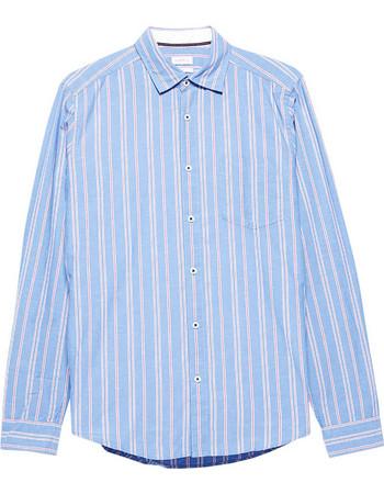 Esprit ανδρικό ριγέ βαμβακερό πουκάμισο - 078EE2F008 - Γαλάζιο f1a94ea9f52