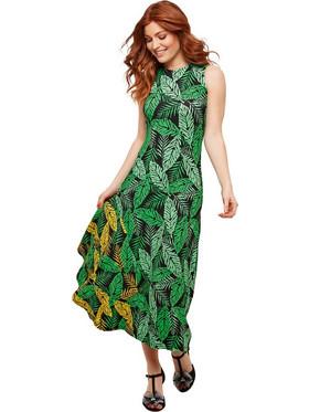 f2fca64090d Αμάνικο μακρύ φόρεμα με μοτίβο φύλλα JOE BROWNS