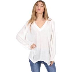 Ασύμμετρη Μπλούζα με V Λαιμό και Λάστιχο στα Μανίκια Λευκό - Λευκό b8c9f0010c7