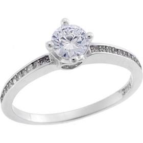 Μονόπετρο Ασημένιο Δαχτυλίδι σε Λευκό Χρώμα με Ζιργκόν SE RG693 297189451ea
