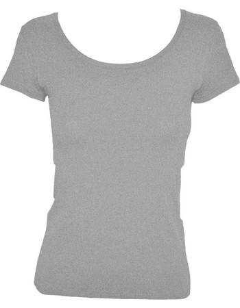 Γυναικείο T-shirt με ανοιχτή λαιμόκοψη από modal και βαμβάκι Jadea 4181  Γκρι Μελανζέ 33a63c29f8d
