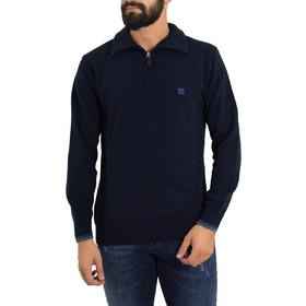 58d4addd0c57 Ανδρικό μπλε πουλόβερ μονόχρωμο με γιακά Darious 18566G
