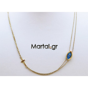 Χρυσό κολιέ με ματάκι μπλε και σταυρό από χρυσό 14Κ 5aa64d3b87d