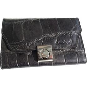 Πορτοφόλι τσαντάκι δερμάτινο μαύρο φίδι γυναικείο Lavor 1-50 πλάγιο  18.5x11.5cm 51b8a840193