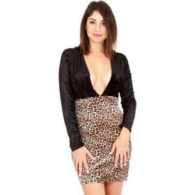 eb277549ae2b Μαύρο Λεοπάρ Βελούδινο Φόρεμα Λεοπάρ Silia D