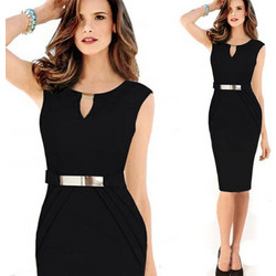 European and American New Style Female Metal Buckle Small V-collar Skirts  Graceful Slim Pencil e4e341040dc