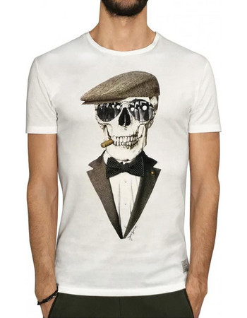 d139aaec04c8 Ανδρικό Κοντομάνικη Μπλούζα T-Shirt 3GUYS GENTLE SKULL 61-3818 Λευκό