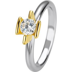 Μονόπετρο δαχτυλίδι δίχρωμο με κίτρινο και λευκό χρυσό και διαμάντι κοπής  brilliant 0 f58c0c31bf0