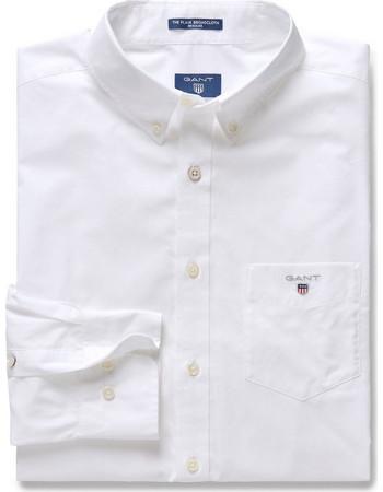 44f9276d63ff Ανδρικό μονόχρωμο πουκάμισο Broadcloth Regular Gant - 3046400 - Λευκό