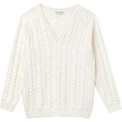3f85deb4327b Lacoste γυναικεία πλεκτή μπλούζα με V λαιμόκοψη - AF8888 - Εκρού