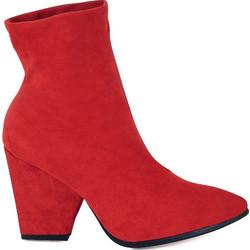 83c59c06c28 Μποτάκια κόκκινα σουέτ μυτερά με ραφές και χοντρό τακούνι 381659red. Tsoukalas  Shoes