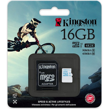 Kingston 16GB microSDHC Action Camera UHS-I U3 Class 10 + Adapter