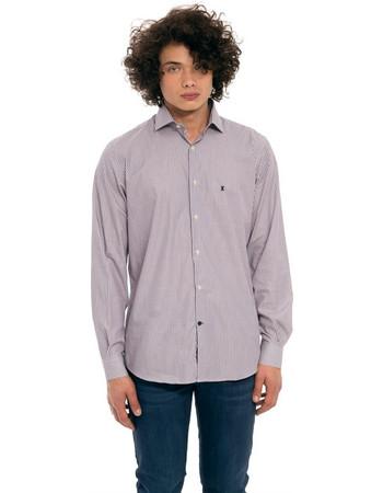 The Bostonians ανδρικό ριγέ πουκάμισο με κεντημένο λογότυπο - ANS4334 -  Μπορντό 1cb17a35965