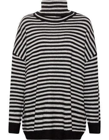 c9eafb11874a Esprit γυναικεία πλεκτή ριγέ μπλούζα χαλαρό ζιβάγκο - 118EE1I012 - Γκρι