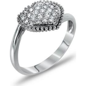 Δαχτυλίδι Καρδιά Από Λευκόχρυσο Κ14 DX732 8755f6a95d4