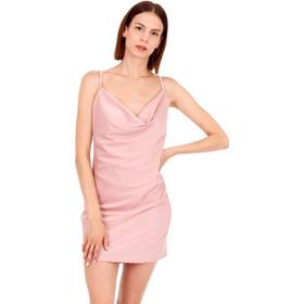 1c70ac4d7ddf Ρόζ Σατέν Mini Φόρεμα με Ανοιχτή Πλάτη Ρόζ Silia D