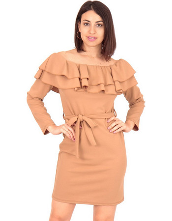 b8ea25f87425 Μπεζ Off Shoulder Mini Φόρεμα με Βολάν και Ζωνάκι Μπεζ Silia D
