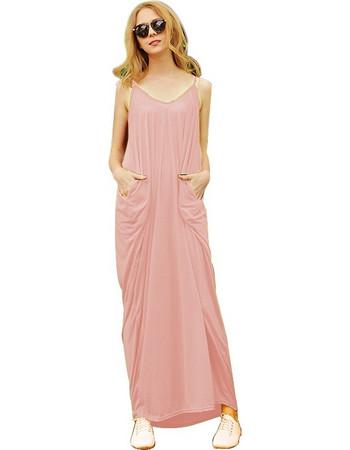 9ab599788120 Women Fashion Sexy Loose Style Sandy Beach Braces Long Dress with Pocket