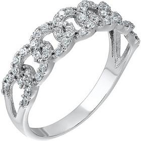 Δαχτυλίδι από λευκο χρυσό 14 καρατίων με κύκλους συνδεδεμένους σαν αλυσίδα  που είναι διακοσμημένοι με ζιρκόν 4c524b23803