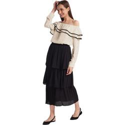 Φούστα πλισέ με βολάν - Μαύρο 00866f88cd8