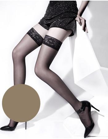 Ider μπεζ (melon) κάλτσες με δαντέλα και σιλικόνη Vanise Top Libertee 307 77c3f239530